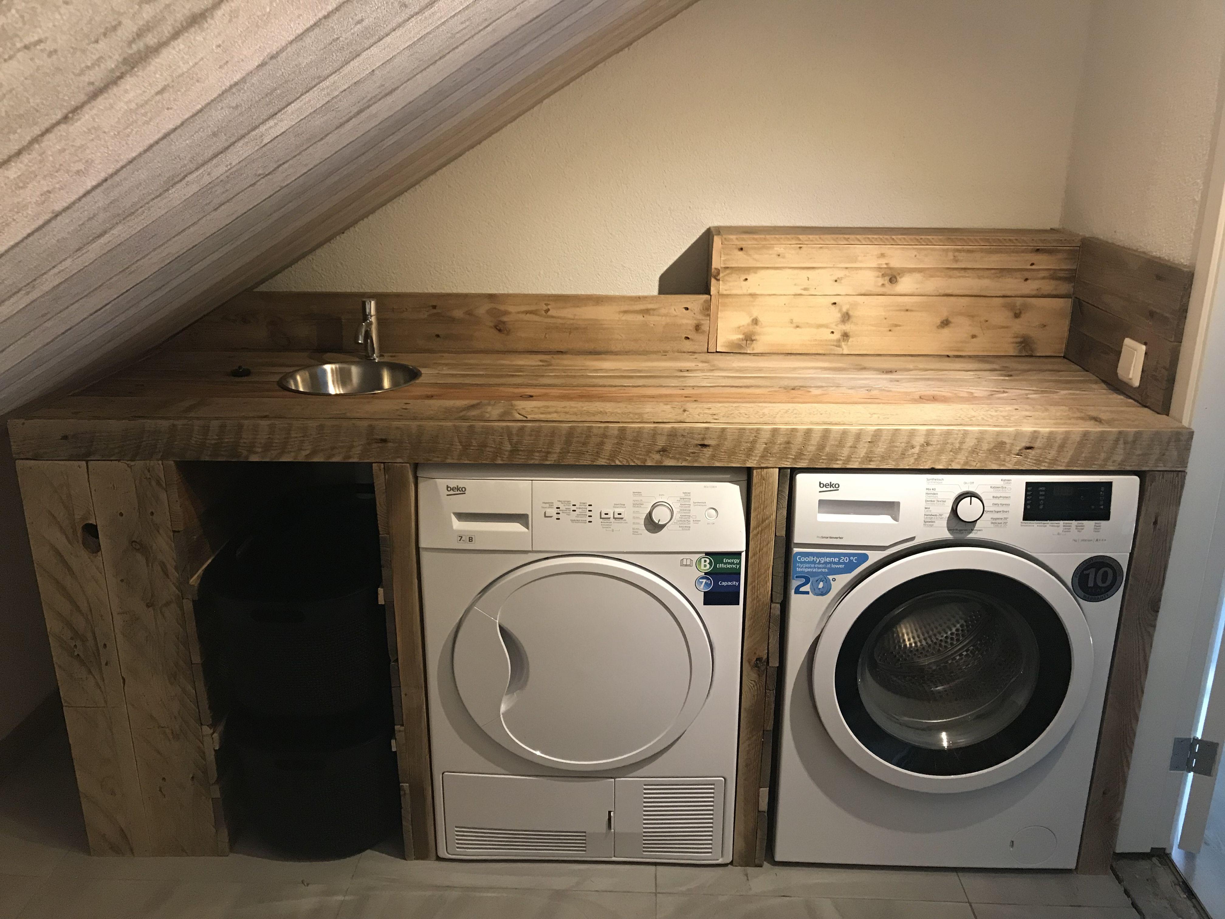 Meubel voor wasmachine droger voorzien van kraan spoelbak en