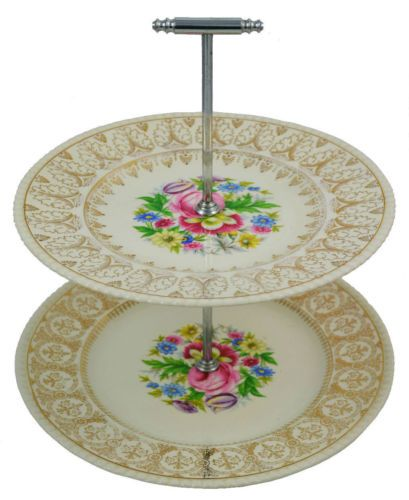 1950s Two Tiered Gilded Cake Server With Chromed Handle Cake Stand Ceramic Tea Cake Stand Collectible China