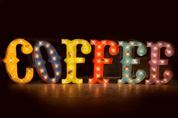 Coffee Marquee Sign Marquee Light Marquee Letter Carnival Letter Marquee Sign Antiqued Marquee Sign Vintage Style Coffee Marquee Marquee Sign Marquee Lights Marquee Lighted Signs