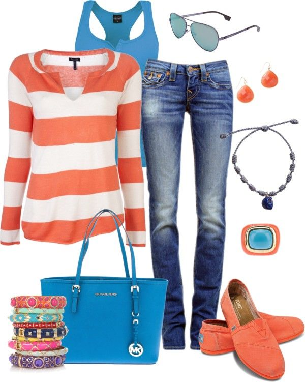 """Jeans Black Outfit """"Orange and Blue"""" by fun-to-wear ❤ liked on Polyvore"""