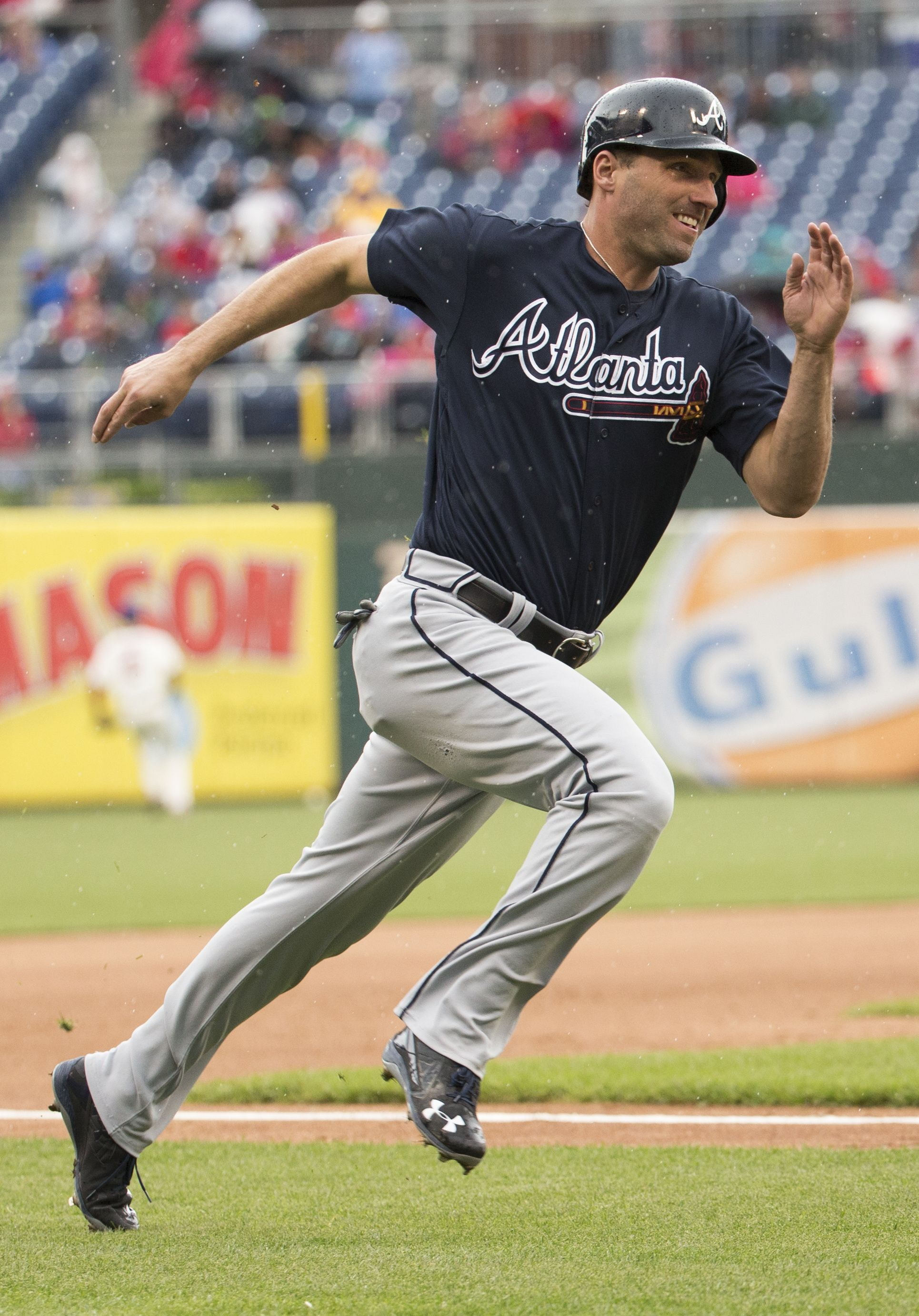 Atlanta Braves Jeff Francoeur Runs Home To Score On A Double By Ender Inciarte During The Fourth Inning Of A Baseball Game Sat Atlanta Braves Baseball Sports