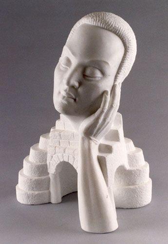 white - man - bust - LANDSCAPE PORTRAIT- figurative sculpture - Clayton Thiel