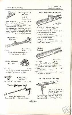 Pond Yacht steering gear and fittings by A J  Fisher