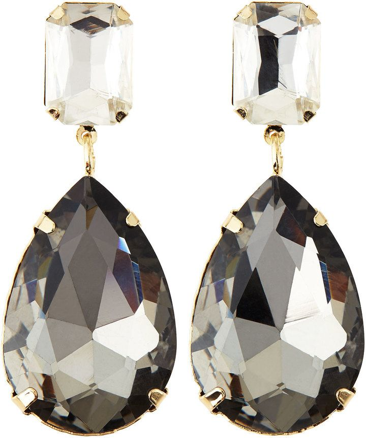c78bcd4c1d Greenbeads Rhinestone Two-Drop Earrings, Clear/Gray on shopstyle.com ...