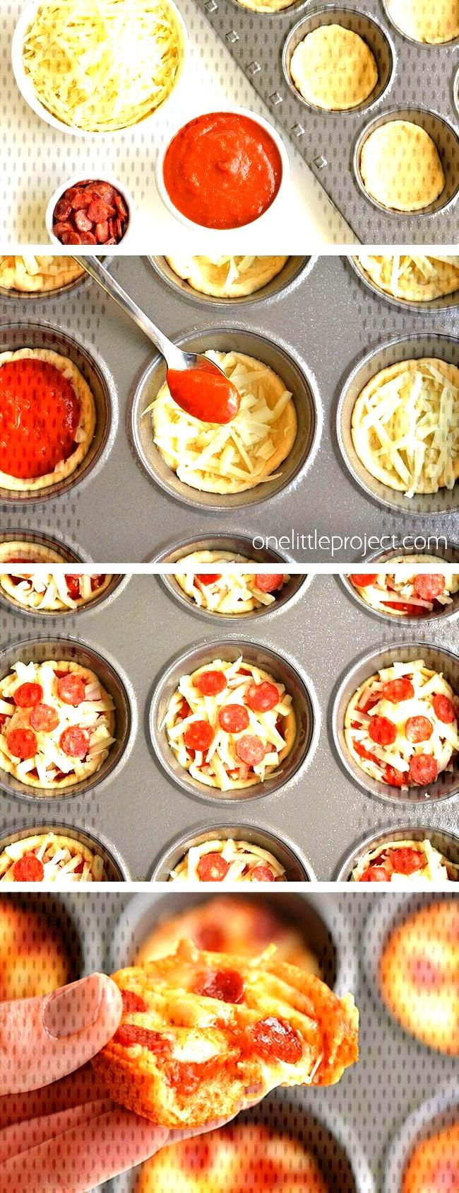 These deep dish mini pizzas are DELICIOUS and they're really easy to make! This is such an awesome