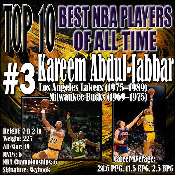 "I can not count the amount of teams I have yelled ""KAREEM"" after attempting a sky hook shot. Kareem played for over two full decades and using his devastating sky hook earned all-star honors in all but one season. He was consistently dominant and is currently the all-time scoring leader in NBA history with 38,387 points. http://www.prosportstop10.com/top-10-best-nba-players-of-all-time/"