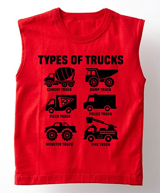 Red 'Types of Trucks' Muscle Tank - Toddler & Boys