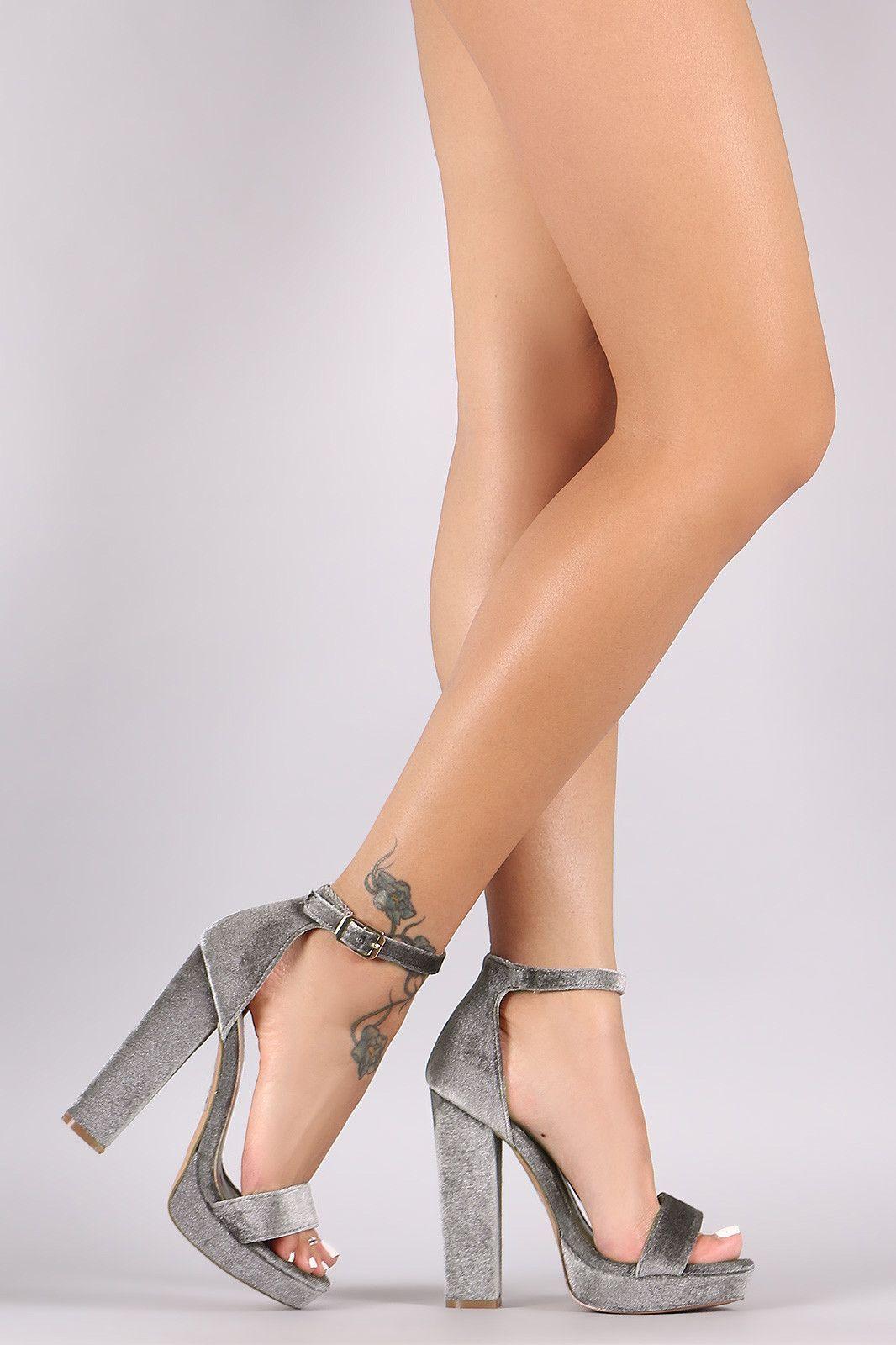 Shoe Republic LA Velvet Ankle Strap Chunky Platform Heel