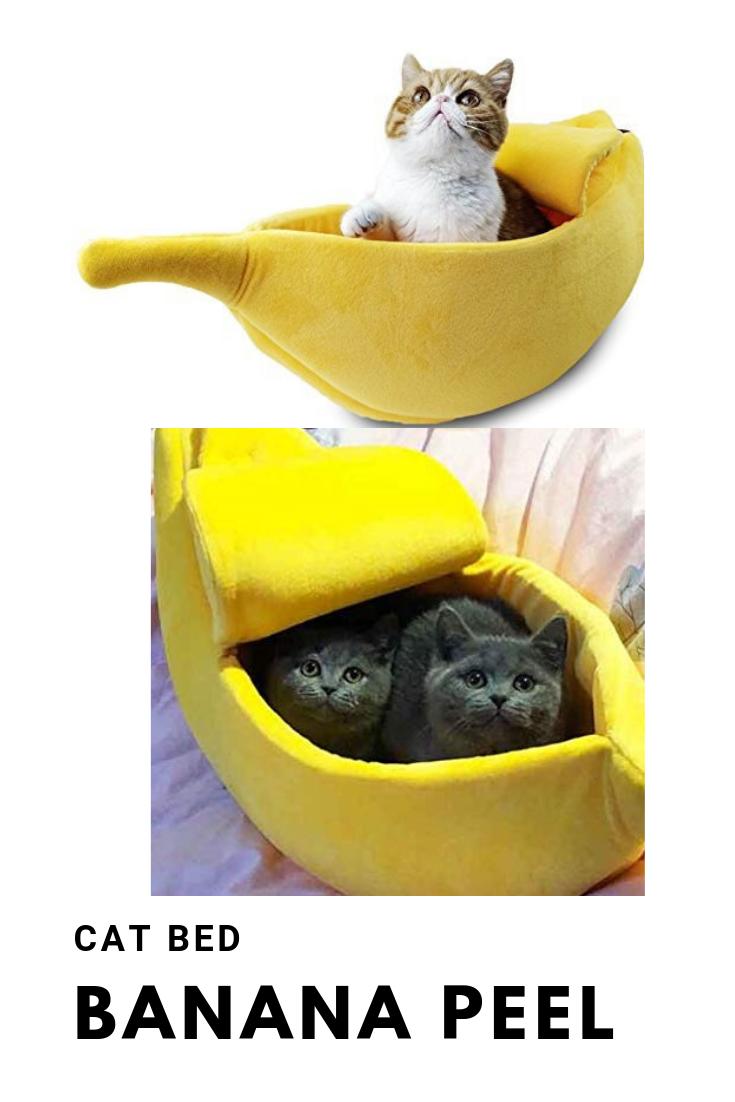PET GROW Cute Banana Cat Bed House, Pet Bed Soft Cat