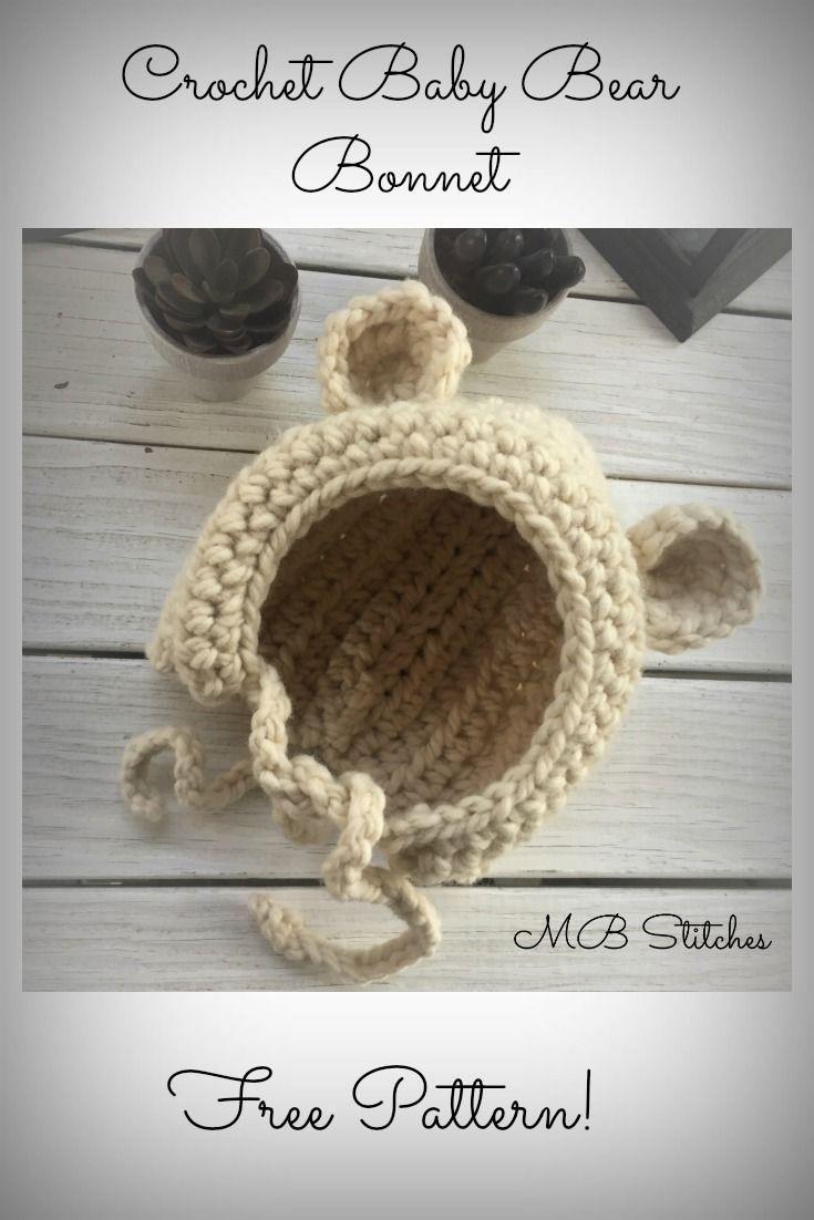 Crochet Bear bonnet hat - Free Pattern! www.mbstitches.com | Crafts ...