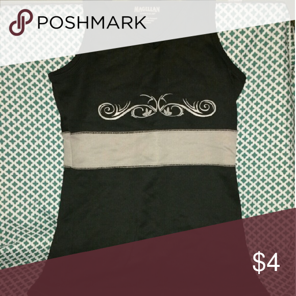 Tribal Black & Cream Active Tank Black Workout Sleeveless Shirt with Tribal Art Above a Solid Cream Bar. Fits Adult Size Medium...Never worn, someone gave it to me and it's not my style. 50% Cotton 50% Polyester.. Magellan Tops Tank Tops