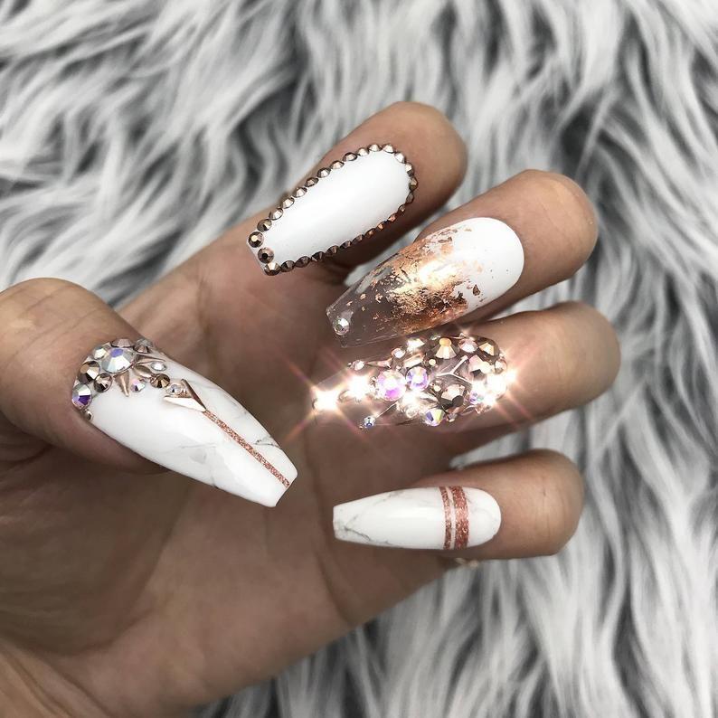 Rose Gold White Marble Swarovski Crystal Nail Press On Nails Etsy In 2020 Crystal Nails Glue On Nails Gold Nails