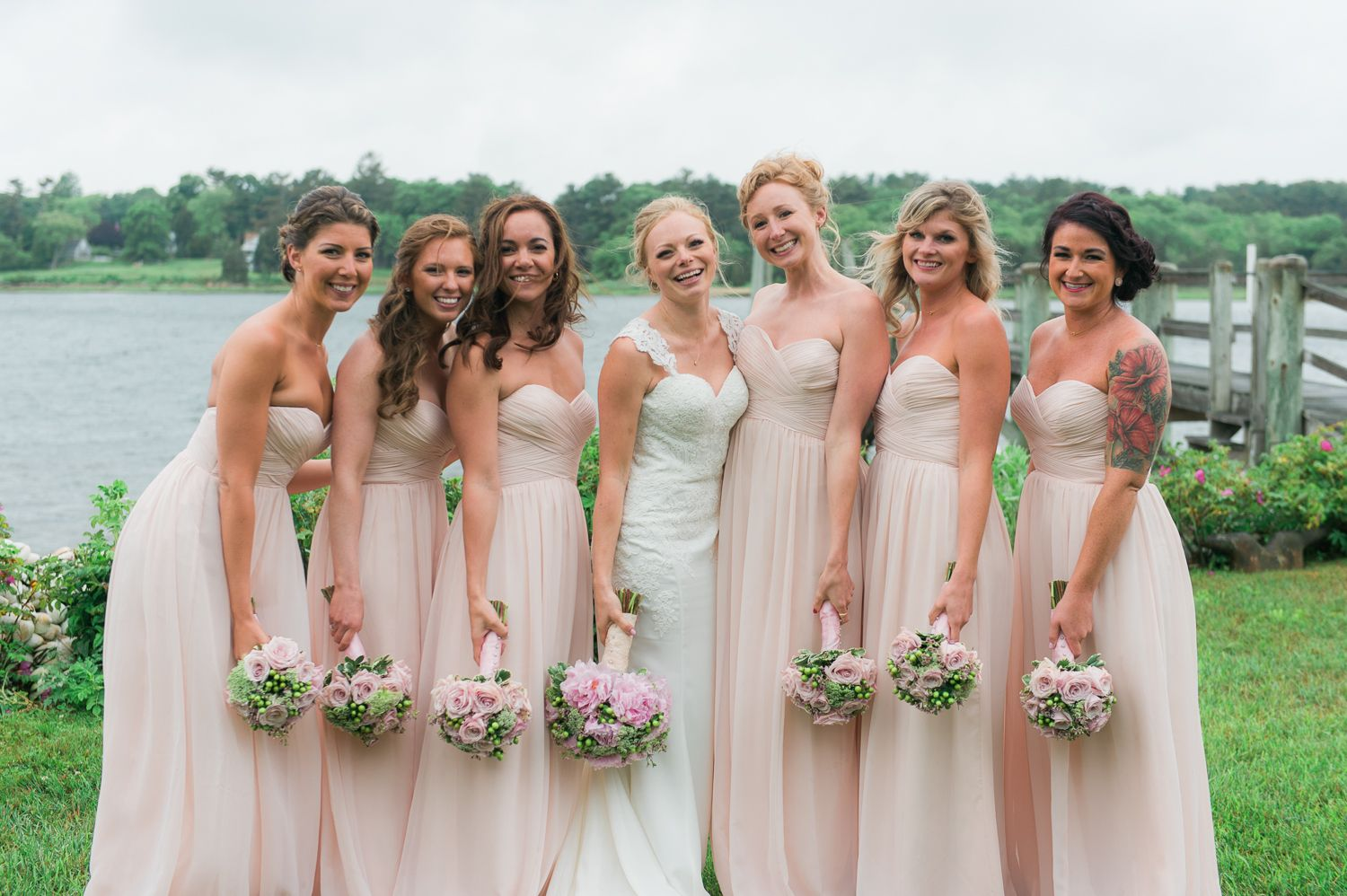 Blush Pink Strapless Bridesmaid Dresses