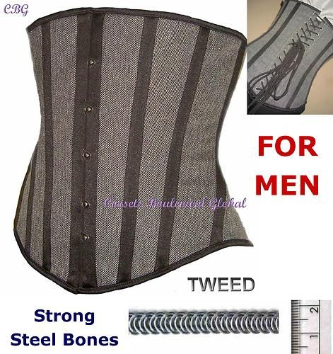 CBG: Men STEEL BONED CORSET Shaper Crossdresser SISSY Drag Queen Gay ...