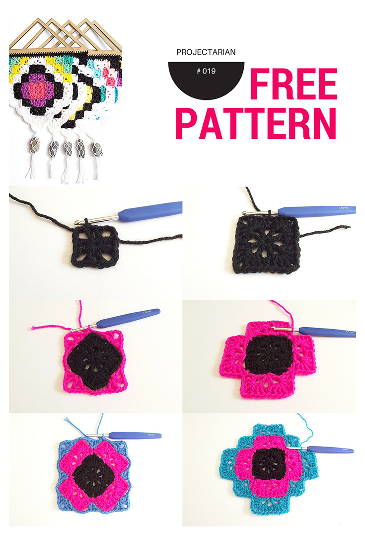 Bonito, fácil e padrão de crochet Free: tapeçaria tribal.  design.http: //www.projectarian.com/2016/05/13/project-019-tribal-wall-hanging-free-pattern/