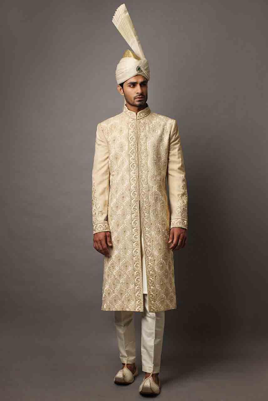 Classy Off White Best Pakistani Mens Wedding Sherwani Barat Dresses 2017 With Turban