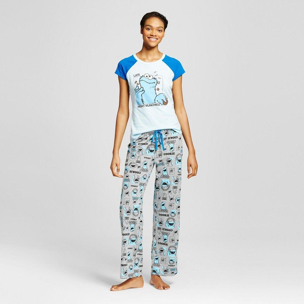 63f8b8e1 Women's Sesame Street Late Night Munchies Cookie Monster Tee/Pant Pajama  Set - Blue XS
