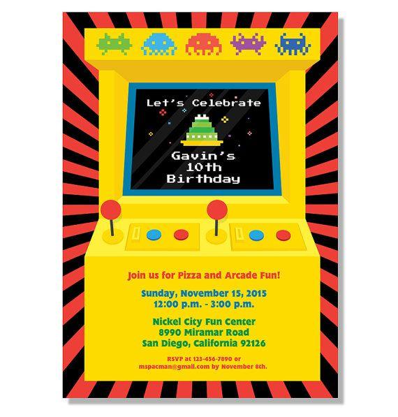 Retro Arcade Game Birthday Invitation Digital File Arcade Birthday Parties Retro Arcade Games Arcade Themed Birthday Party