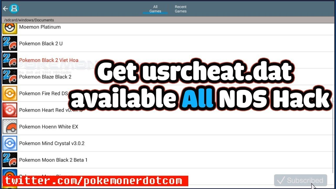 Liked on YouTube: Pokemoner.com - How to Add get usrcheat.dat has available  ALL NDS HACK ROMS!