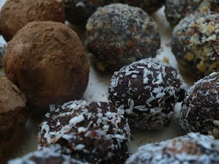 Coconut, date, cocoa truffles.  My Yoga instructor gave me these and I was hesitant, but holy moly they are delish!