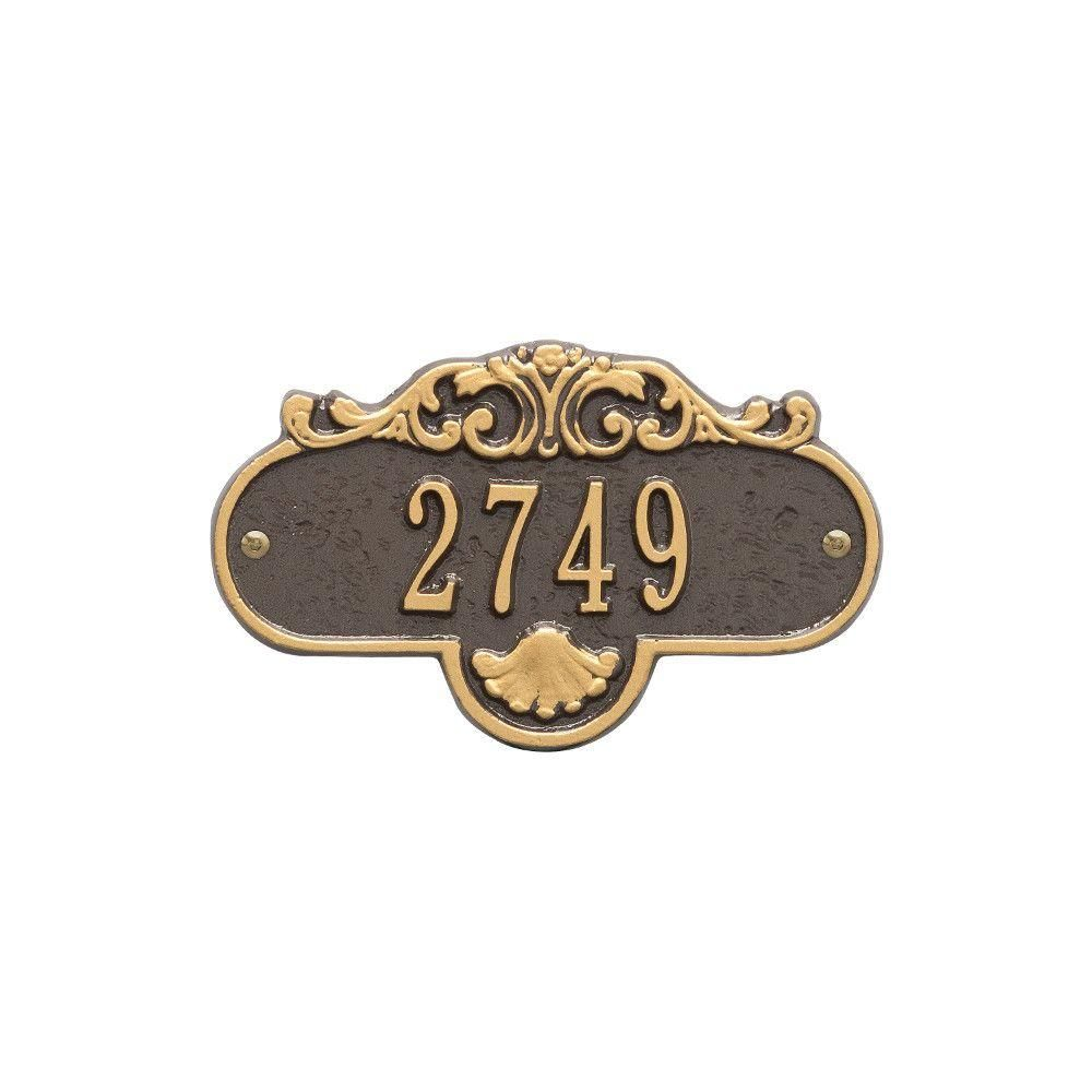 Whitehall Products Oval Rochelle Petite Bronze Gold Wall 1 Line Address Plaque Address Plaque Whitehall Products Copper Wall