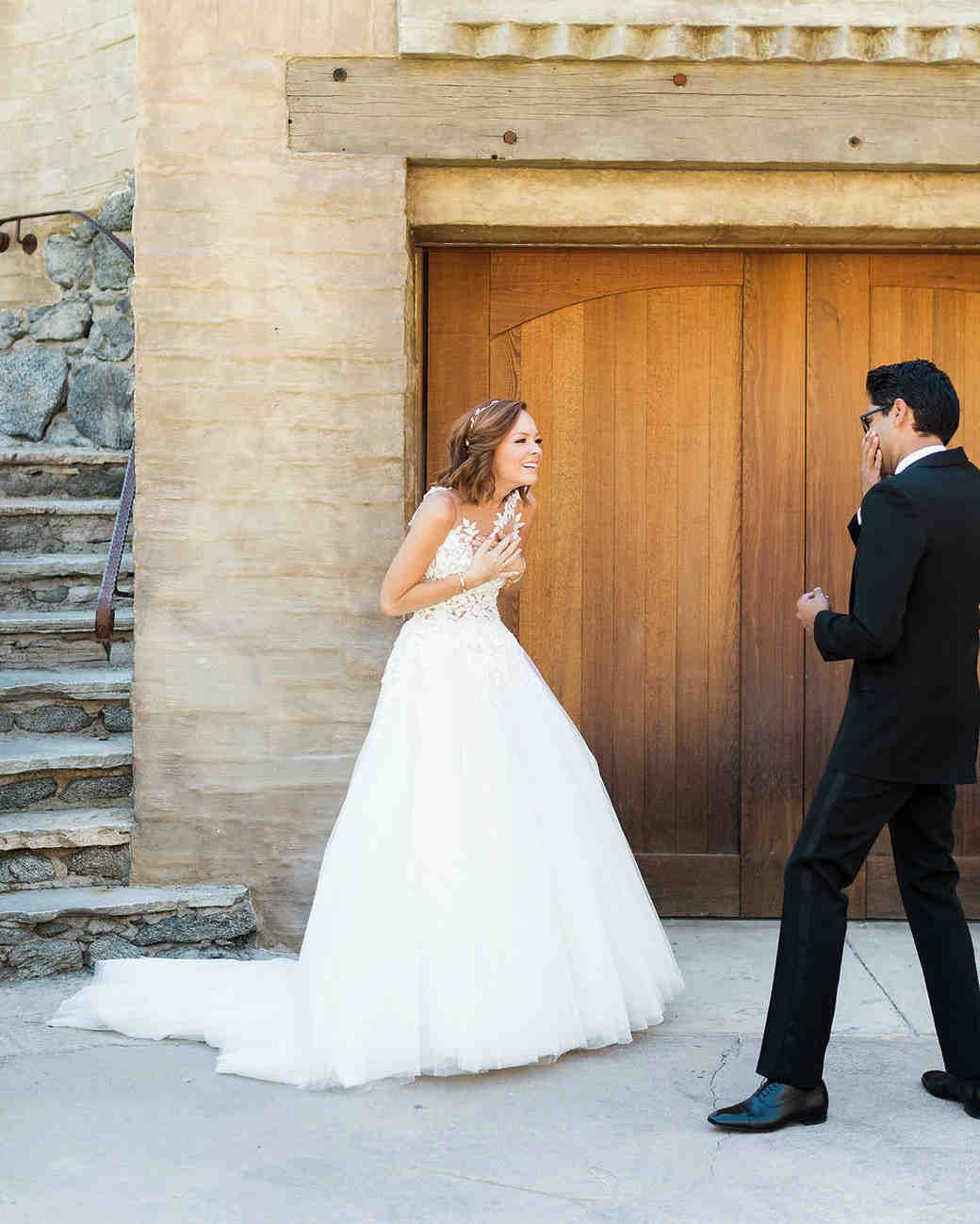 Most revealing wedding dresses ever  emily adhir wedding first look  REAL BRIDES  Pinterest  Palm