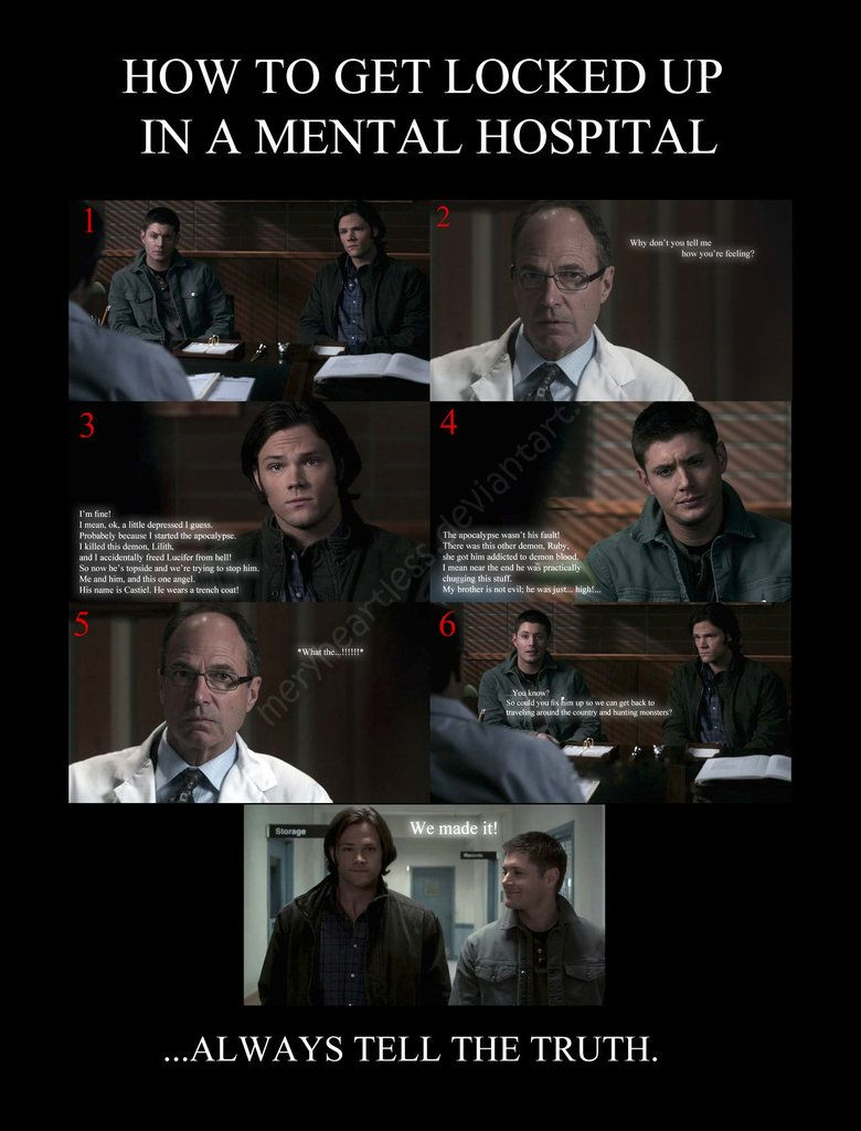 c33d7cc752bf01790c8b13aeeaa50c0b supernatural funny meme how to get locked up in a mental hospital