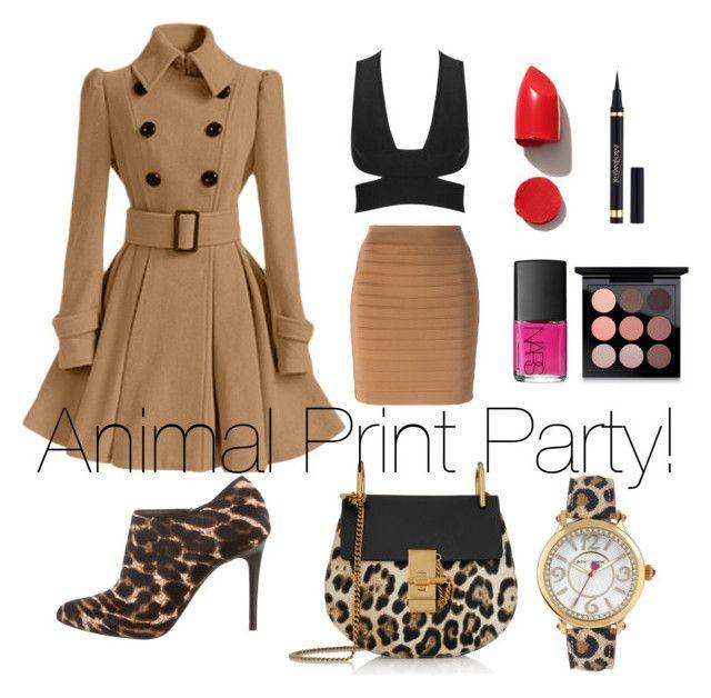 """Animal Print Party!"" by lalalolita87 ❤ liked on Polyvore featuring Lanvin, Balmain, Chloé, Betsey Johnson, NARS Cosmetics and MAC Cosmetics"
