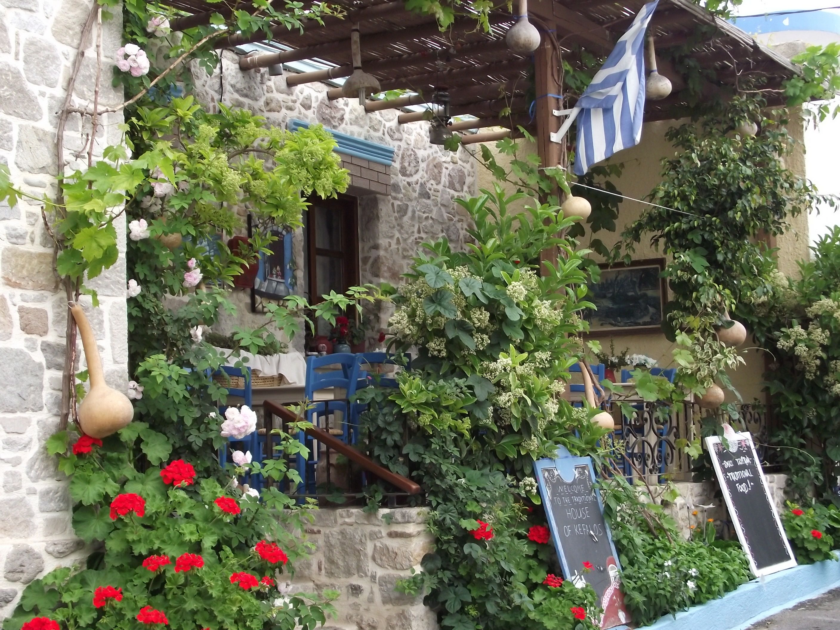 Traditional Greek house and restaurant old town Kefalos Kos and
