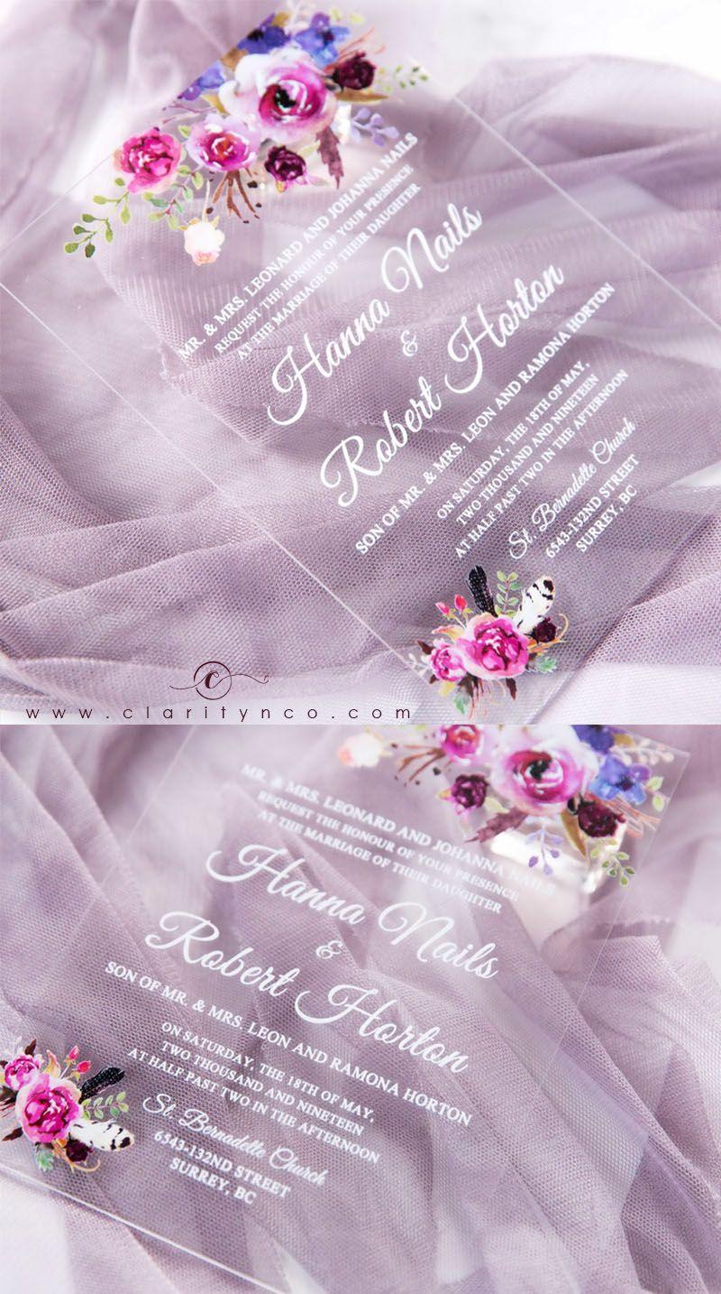 Affordable Purple Rustic Acrylic Wedding Invitations