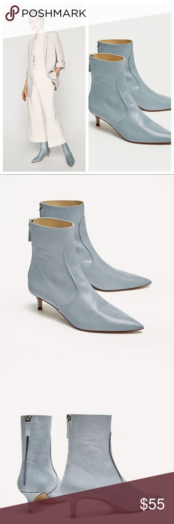 Leather Kitten Heel Baby Sky Blue Ankle Boots Blue Ankle Boots Boots Kitten Heel Ankle Boots