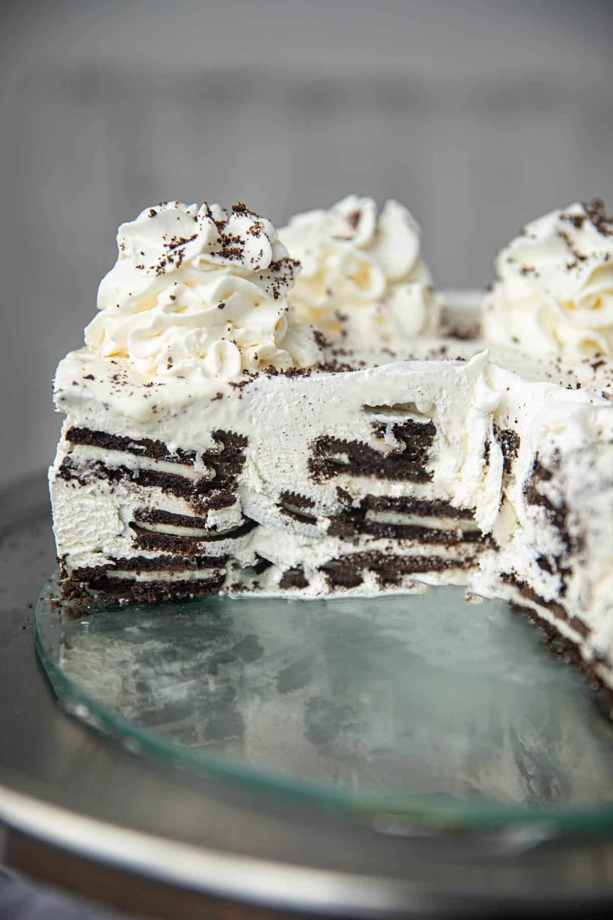 Oreo Ice Box Cake is an easy no bake dessert with Oreos and whipped cream (or cool whip!) you can serve all summer long! Ice Box Cake is an easy no bake dessert with Oreos and whipped cream (or cool whip!) you can serve all summer long!