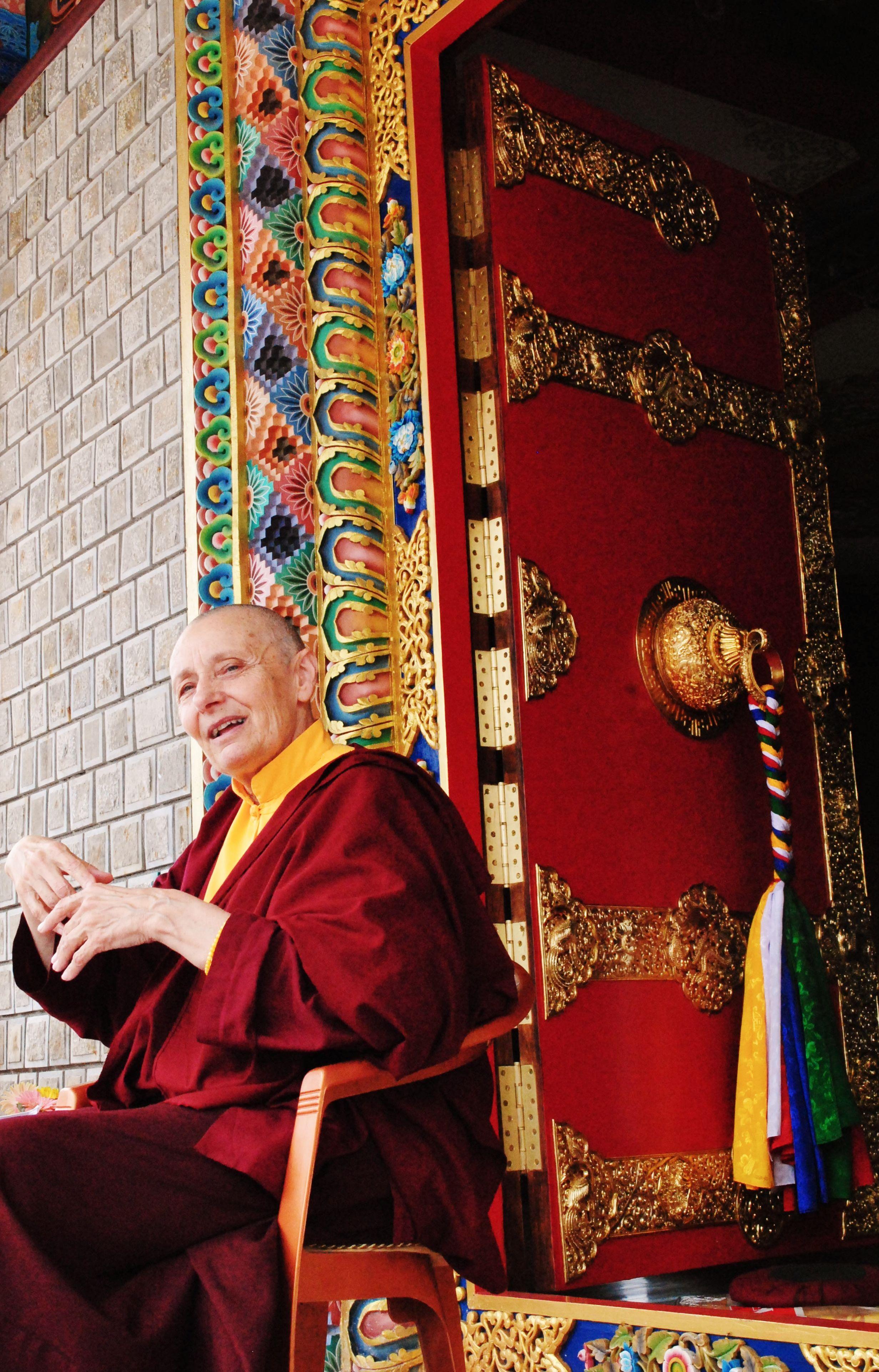 Jetsunma Tenzin Palmo at her nunnery in Bir, India. A ...