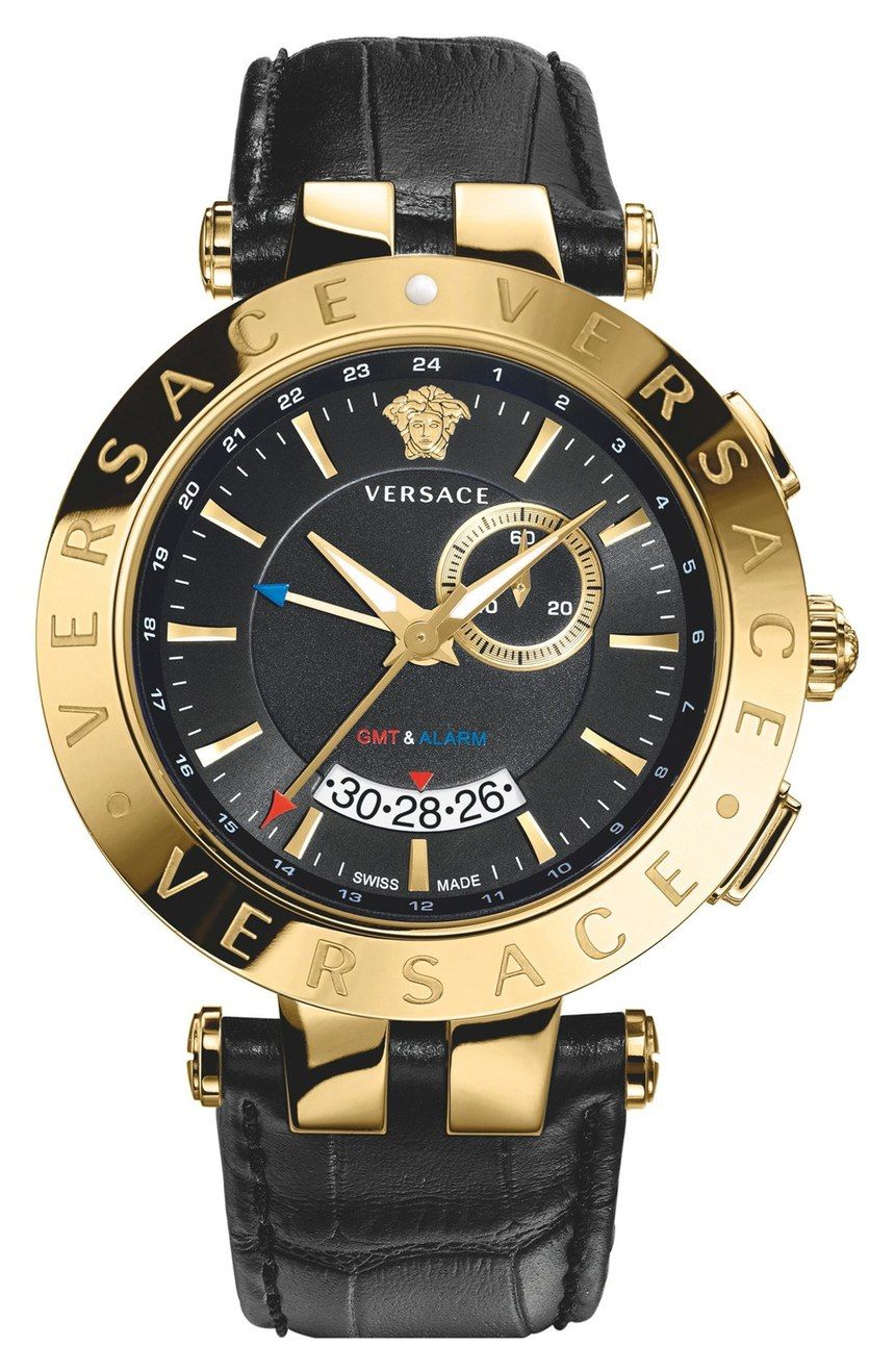 6d45a31a78c Versace  V Race GMT  Black   Gold Watch for Men