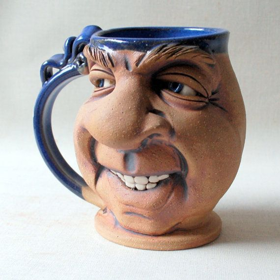 CHEESE one of a kind FACE MUG by Herksworks on Etsy
