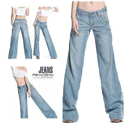 NEW womens vintage style cotton denim jeans w flared pant hem size 8-10 (S)