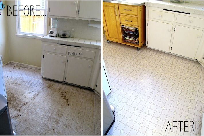 Kitchen Linoleum Floor Before After Clorox Water And Scrub Brush Finish With A Floor Sealer L Linoleum Flooring Clean Kitchen Floor Clean Linoleum Floors