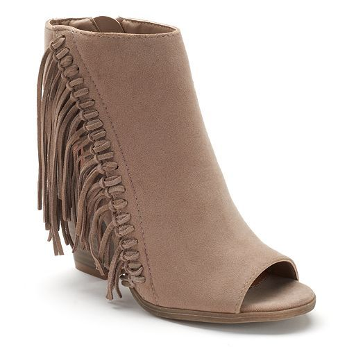 sugar Leta Women's Fringe Peep-Toe Booties | Kohl's | Style ...