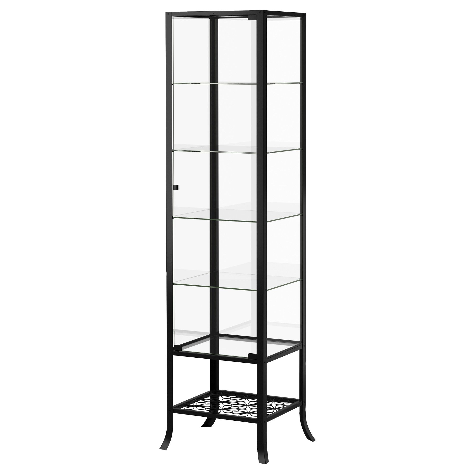 KLINGSBO Glass-door cabinet, black, clear glass | Glass doors ...