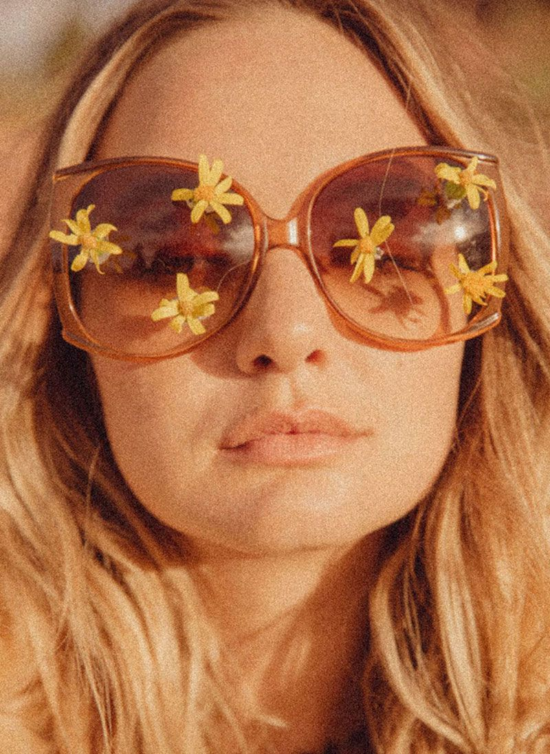 retro sunglasses flowers
