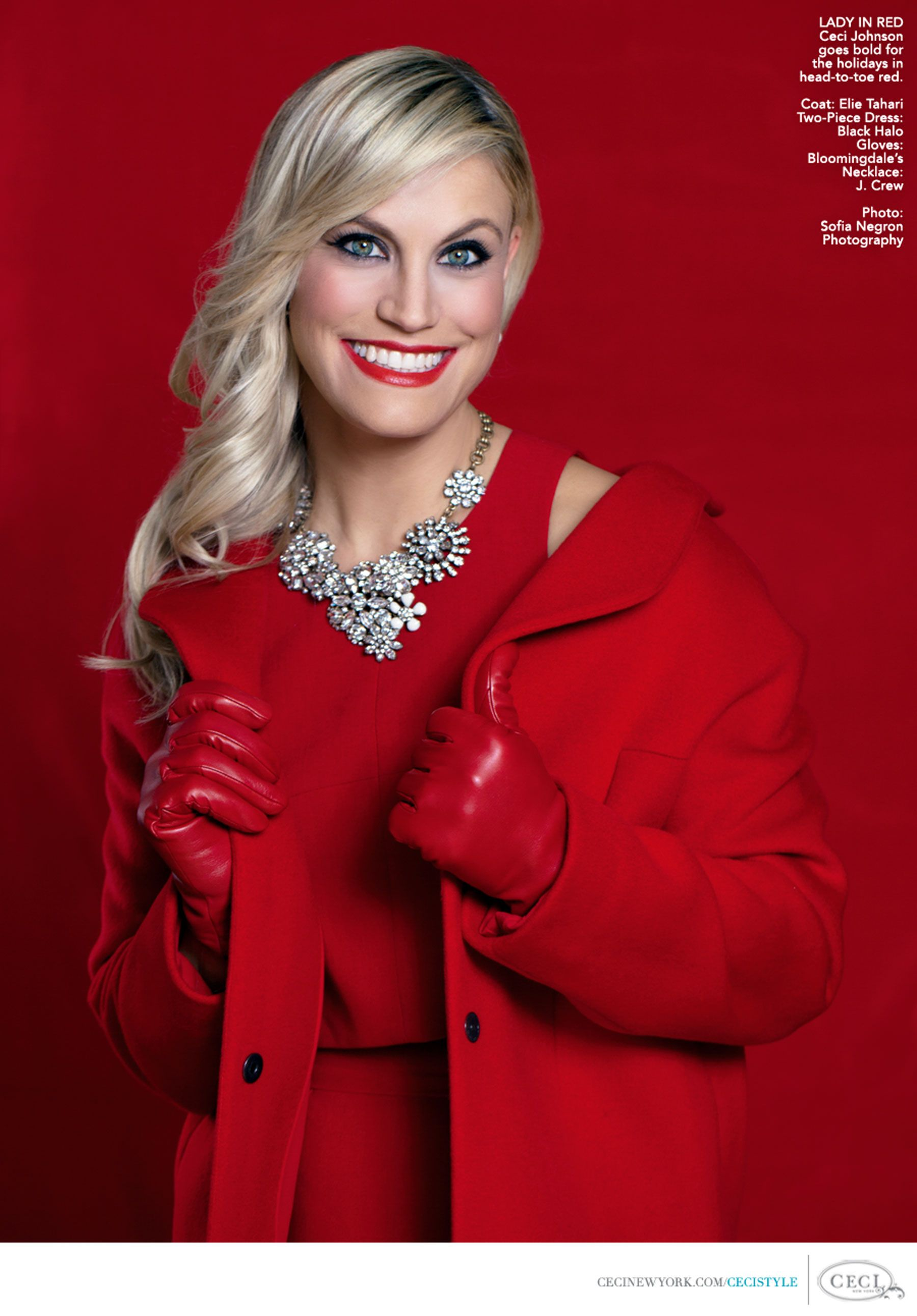 LADY IN RED - Ceci Johnson goes bold for the holidays in head-to-toe ...