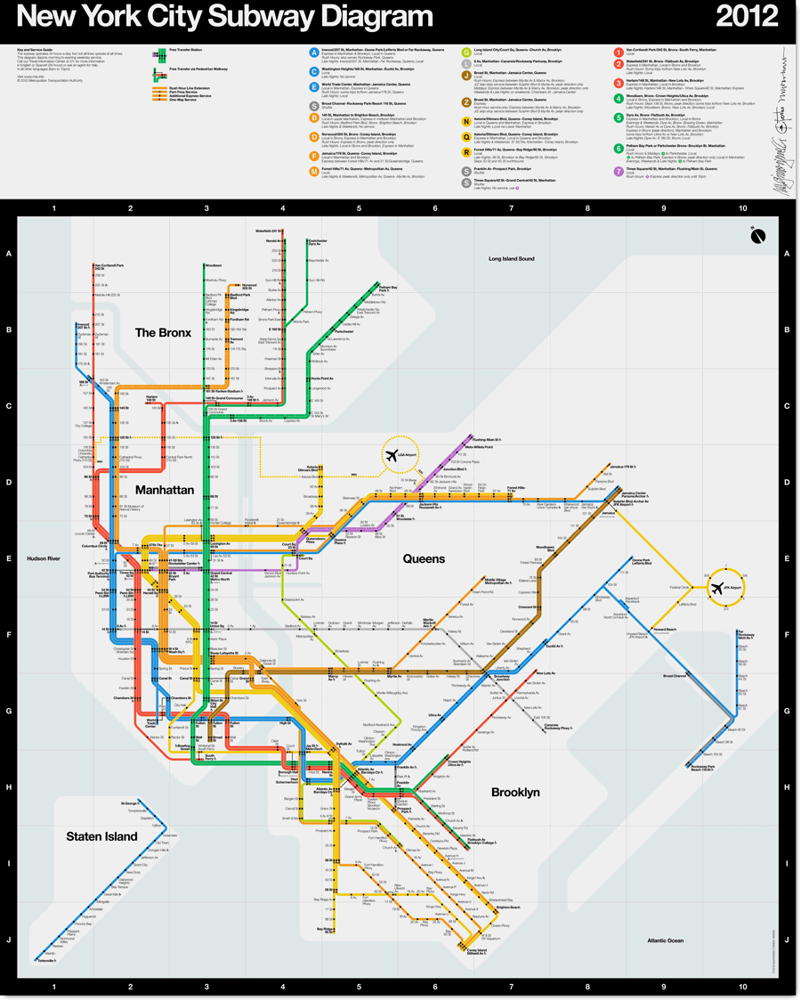Buy New York City Subway Map Tauranac 2012.2012 Subway Diagram Signed In 2019 Ny Ignition Massimo Vignelli