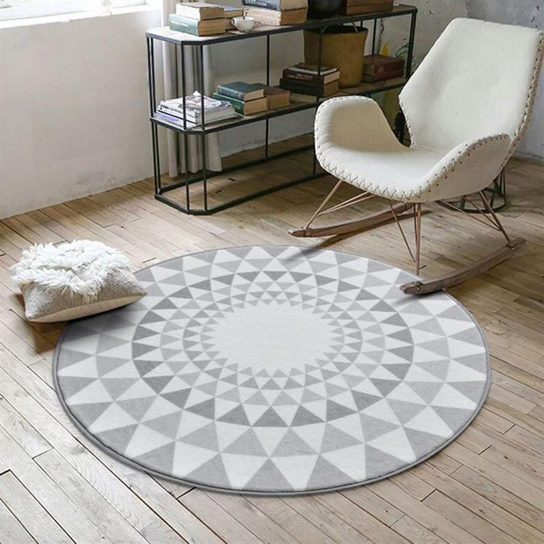 Nordic Gray Series Round Carpets For Living Room Computer Etsy In 2021 Living Room Carpet Round Rugs Round Carpets