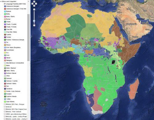 Carte De Lafrique Interactive.Ethno Linguistic Map Of Africa Maps On The Web Cartes Afrique
