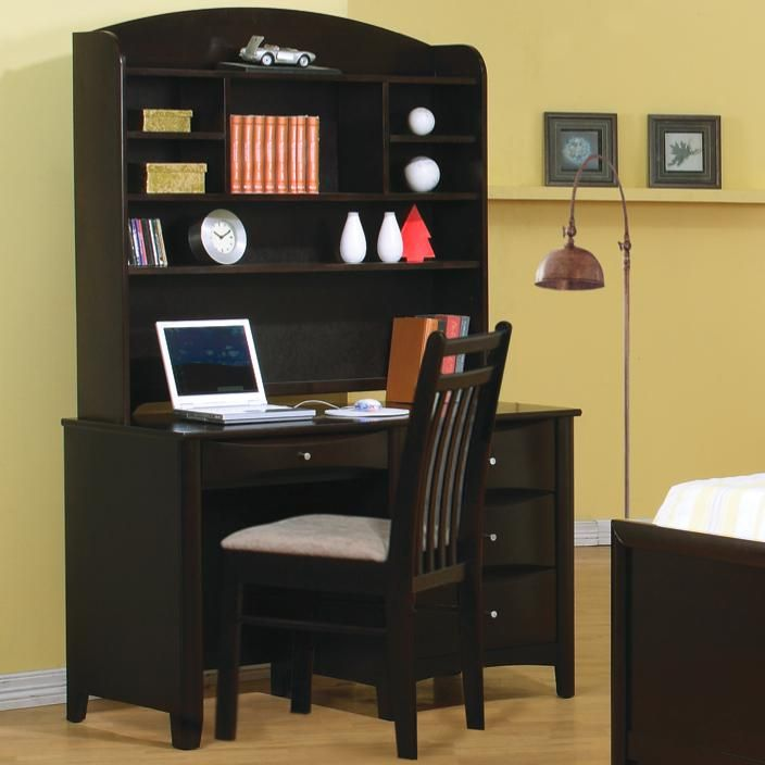 Phoenix Single Pedestal Youth Computer Desk With Hutch By Coaster