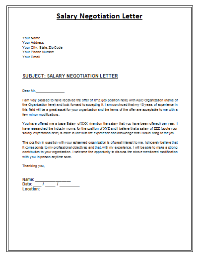 salary negotiation letter is a formal archive composed by