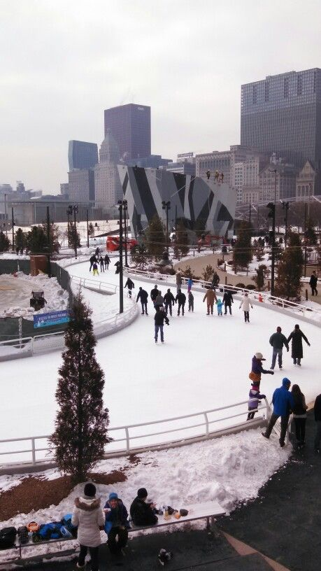 New ice skating trail in Chicago. It's like a skating lazy river