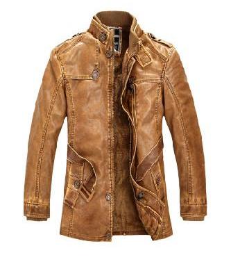 Chaqueta cuero hombre long ersatz leather jacket