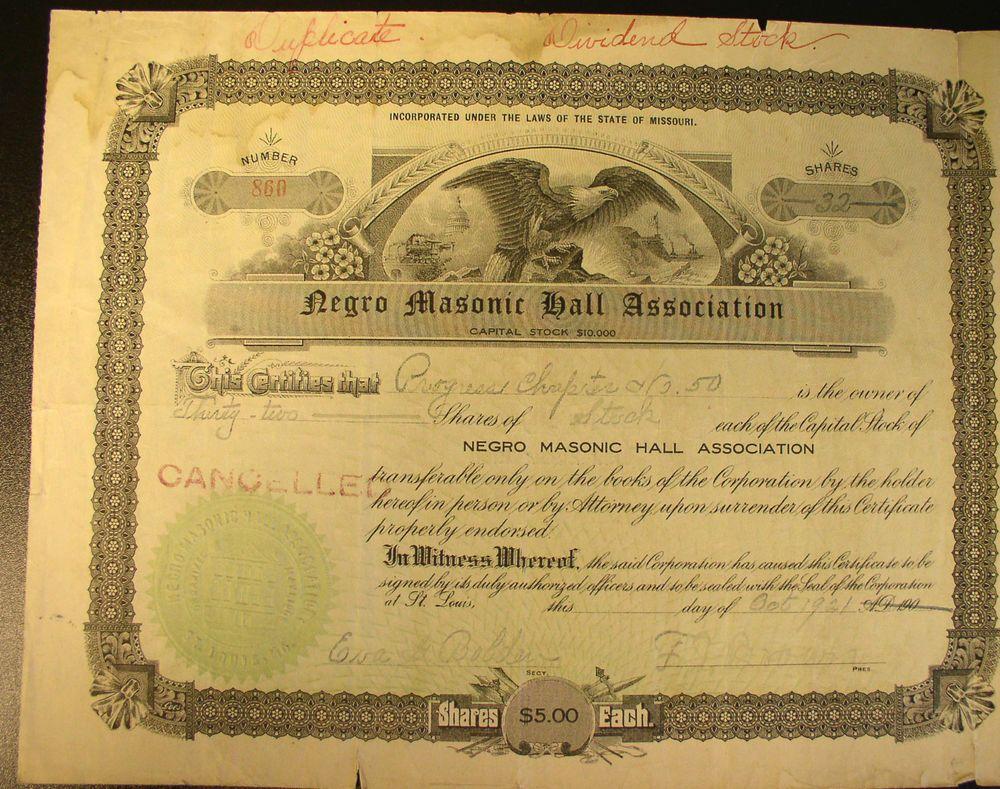 1921 negro masonic hall association stock certificate st louis mo rare 1921 negro masonic hall association stock certificate st louis mo 1betcityfo Choice Image