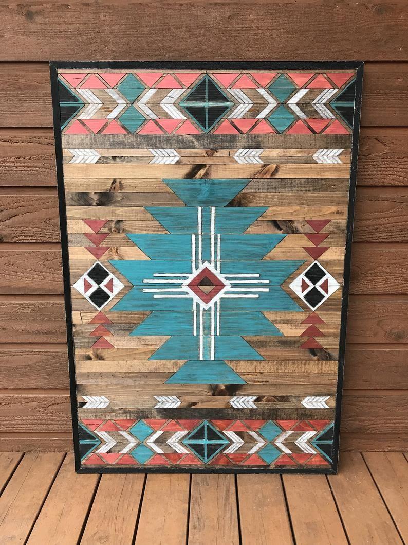 On Sale Ready To Ship Rustic Tribal Southwestern Wood Wall Art Wood Wall Art Wood Art Design Etsy Wall Art